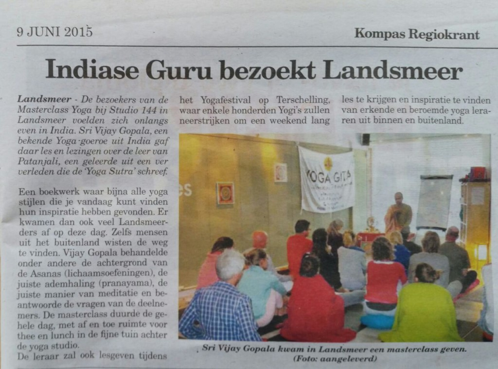 Coverage of yogagita programme in newspapers of Europe